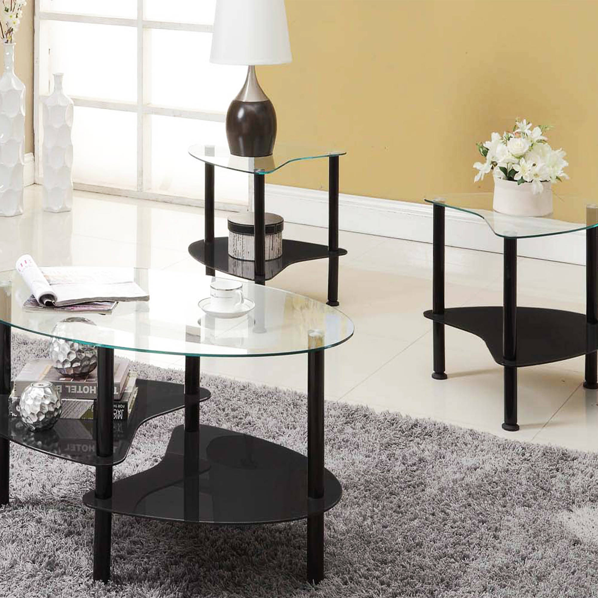 Innovex 3 Piece Crescent Accent Table Set, Coffee Table And 2 End Tables