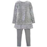 Baby Girls Gray Sequin Embellished Layered Legging Outfit 12M