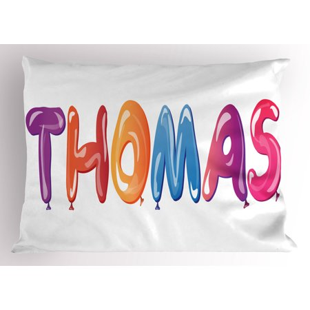 Thomas Pillow Sham Colorful Common American Boy Name with Religious Connection Festive Fun Balloons, Decorative Standard Size Printed Pillowcase, 26 X 20 Inches, Multicolor, by Ambesonne