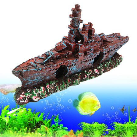 Navy Destroyer Ship (Meigar Aquarium Resin Ornament Destroyer Navy War Boat Ship Wreck Fish Tank Cave Decoration For Fish Tank,9''X1.6''X4.3'' )