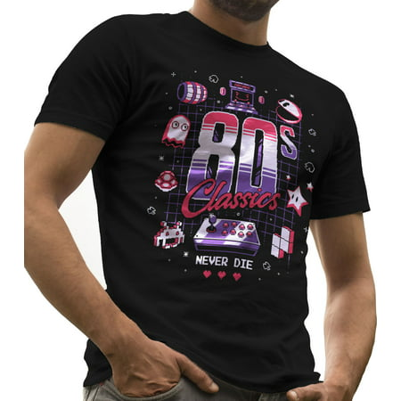 Retro Gamer Shirt 80s Classics Never Die Geek Stuff and Funny Nerd Gift  by LeRage Shirts MEN'S Black Small - 80s Attire Male