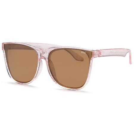 Hawaiian Island Creations Retro Classic Girls Polarized Polycarbonate Sunglasses - Transparent Pink W/Sparkle Frame / Gold Flash (Best Way To Clean Polycarbonate Lenses)