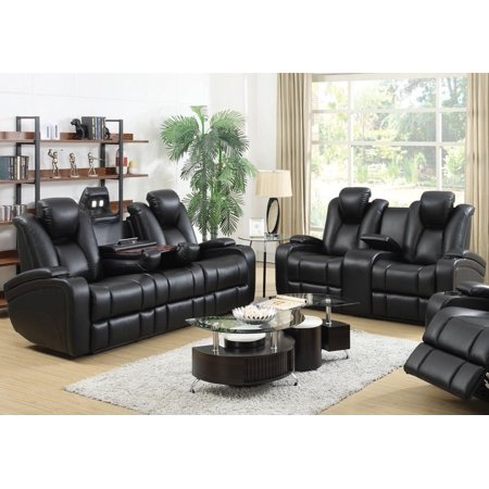 Miraculous Simple Relax 1Perfectchoice Delange Motion Recliner Power Sofa Loveseat Set Storage Armrest Black Leatherette Gamerscity Chair Design For Home Gamerscityorg