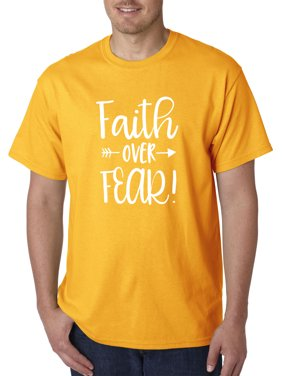 Trendy USA 1253 - Unisex T-Shirt Faith Over Fear Script Medium Navy