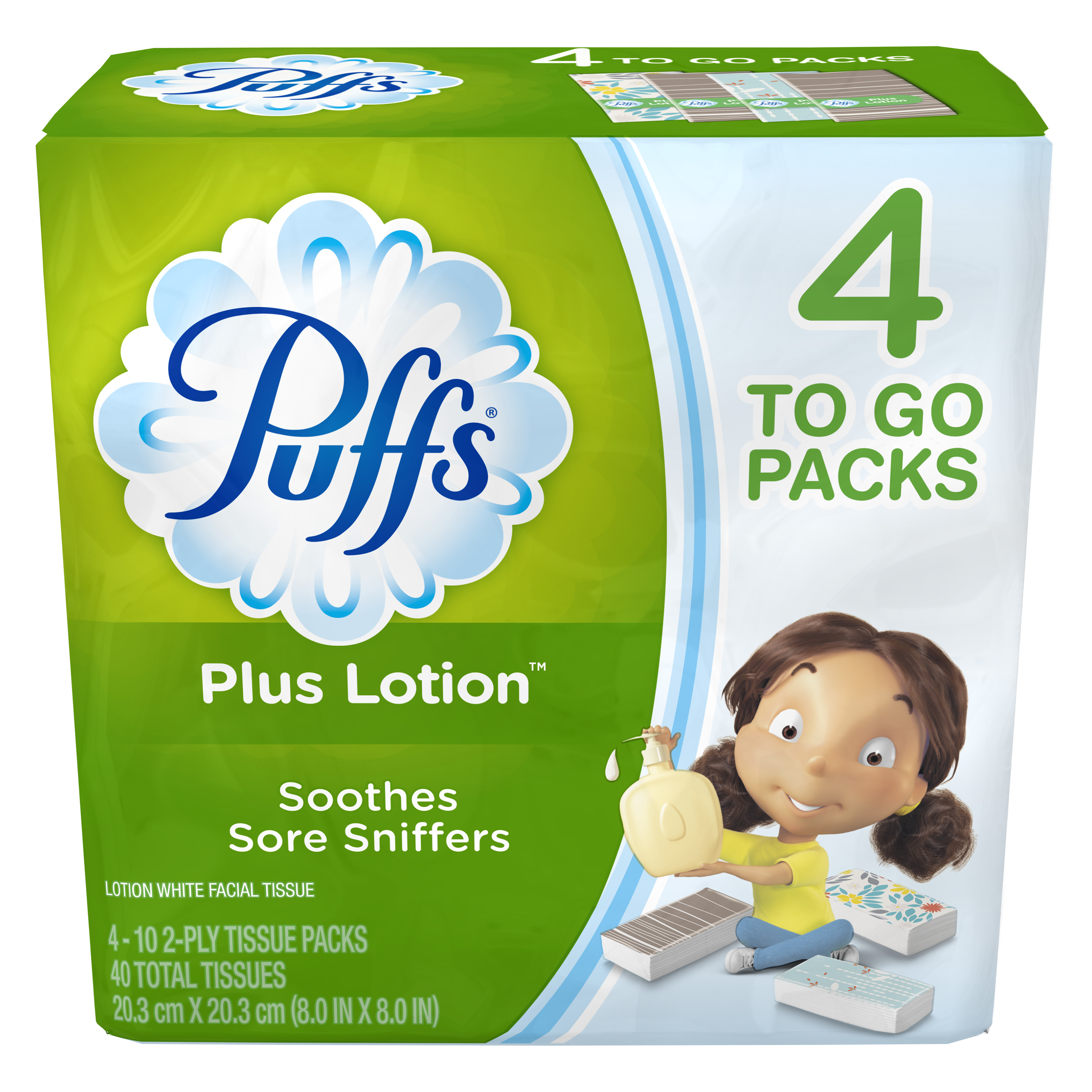 Puffs Plus Lotion Facial Tissues, 4 To Go Packs, 10 Tissues per Pack