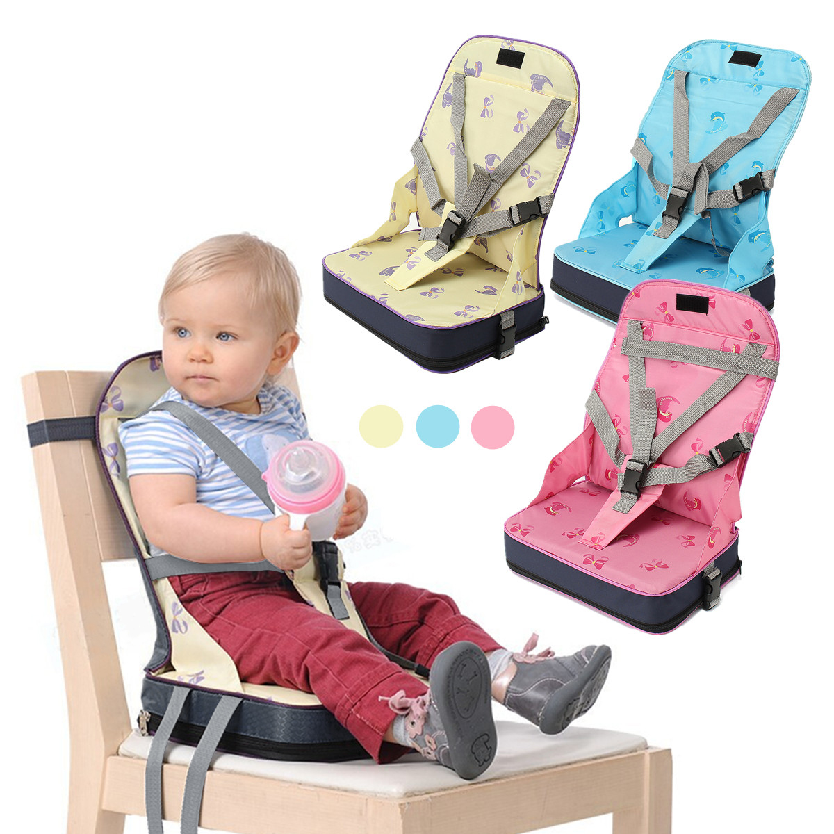 Baby Kids High Chair Dining Feeding Chair Booster Seat  With Harness Safety Travel Foldable Folding Portable