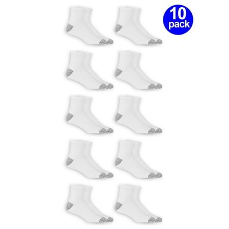Athletic Works Men's Ankle Socks, 10 Pack, White, Size 6-12 Bow Ankle Length Nylon Socks