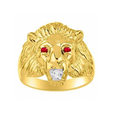 Lion Head 1/2 Ring (Diamond & Ruby Lion Head Ring Gold Plated Silver CCSL-MR3118RY )