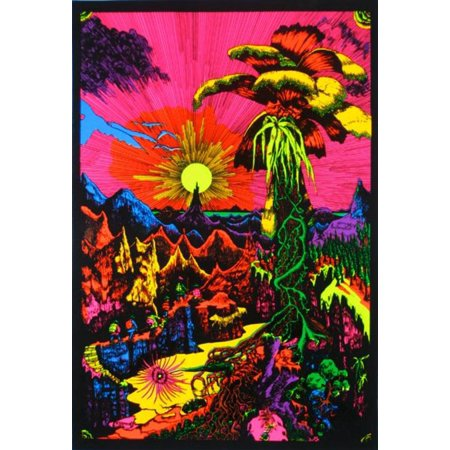 Psychedelic Rock Posters (Lost Horizon Trippy Colorful Psychedelic Neon Flocked Blacklight Poster - 24x36 inch )
