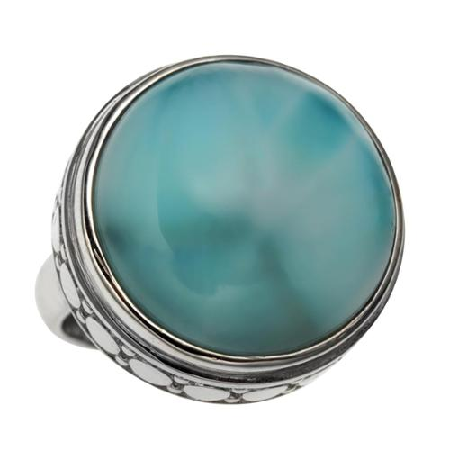 Sterling Silver 15.87ct 18mm Round Larimar Polished and Textured Ring Size 6