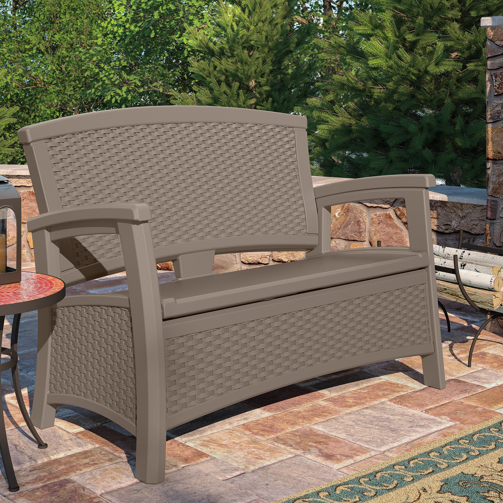 Suncast Elements Resin Wicker Bench with Storage, Java by Suncast