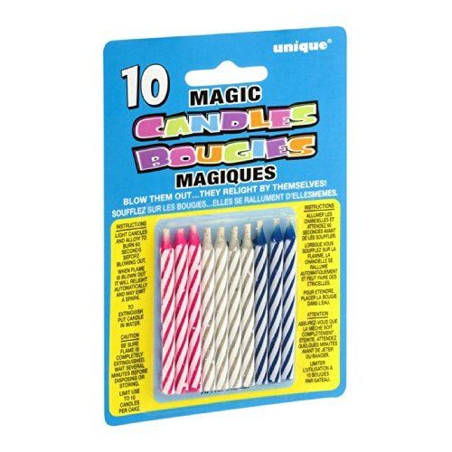 Magic Relighting Trick Birthday Candles, Assorted, 10ct