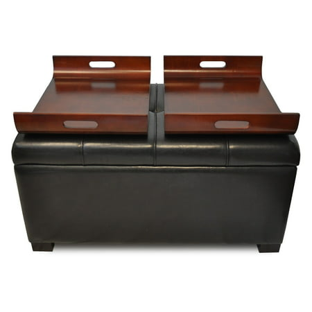 Design4comfort Faux Leather Storage Ottoman With Trays Espresso