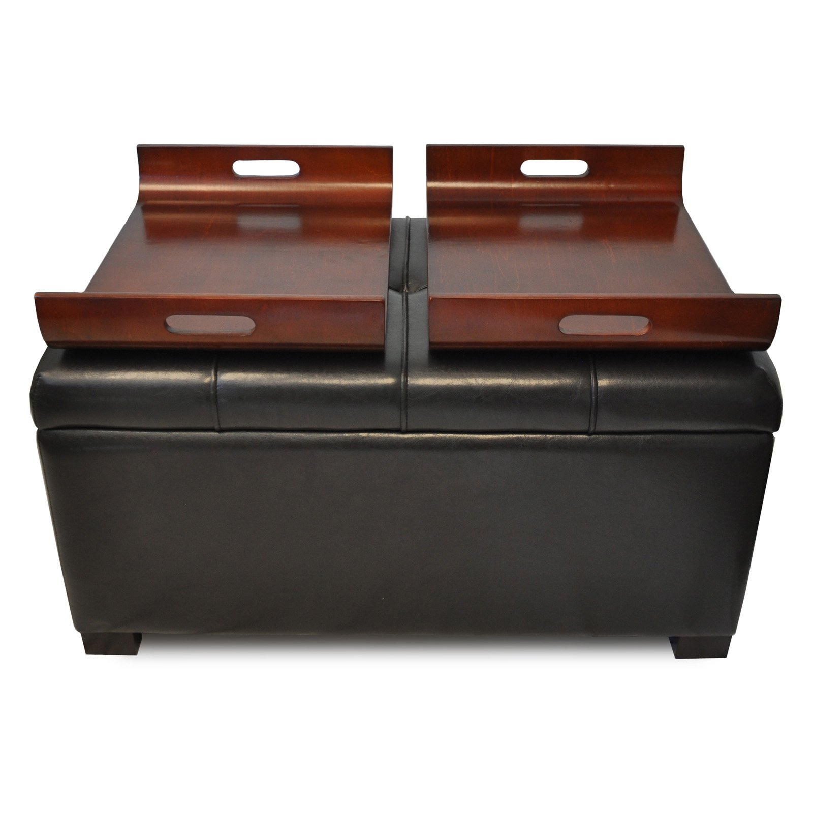 Wonderful Design4Comfort Faux Leather Storage Ottoman With Trays, Espresso