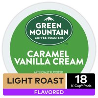 Green Mountain Coffee Caramel Vanilla Cream Flavored K-Cup Pods, Light Roast, 18 Count for Keurig Brewers