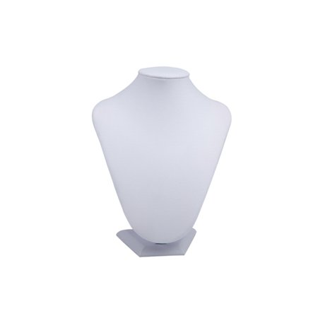 Necklace display neck stand white leatherette 8x11-inch