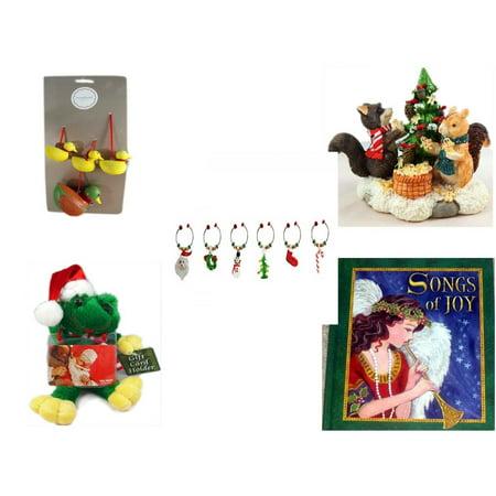 Christmas Fun Gift Bundle [5 Piece] - Martha Stewart Woodland  Set of 4 Duck Ornaments - Forest Friends Gingerbread Tree Resin Figurine - LSArts Wine Glass Charms  Set of 6 -  Santa Frog  Gift Card (Friends Fun Wine)