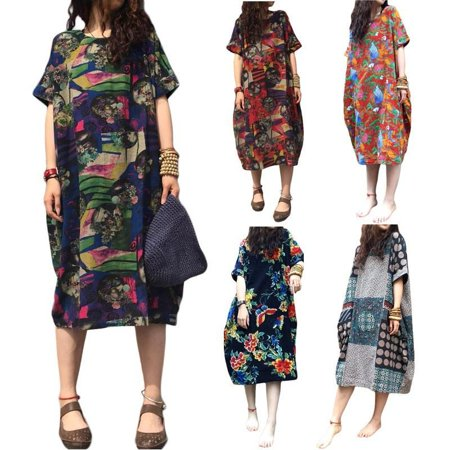 Women Kleid Robe Chemisier Hauts Short Sleeve Linen Baggy Retro Floral Loose Print Long Dress Retro Shirt Dress