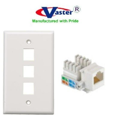 superecable - 00354 - cat5e punch down ( 3 pcs) keystone jack white color,  with 3 hole rj 45 keystone wall plate, white color