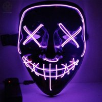 Luxtrada Halloween LED Glow Mask EL Wire Light Up The Purge Movie Costume Party +AA Battery (Yellow)