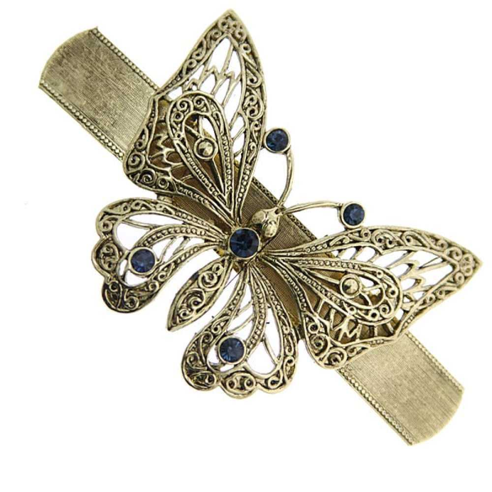 1928 Jewelry Womens Gold-Tone Blue Crystal Butterfly Barrette Hair Accessory NEW