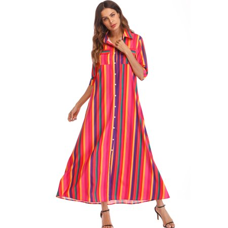 SAYFUT Womens Loose Fit Shirt Long Dress Rainbow Button Down Roll up Sleeve Stripes Maxi Dress Pockets Plus Size S-3XL