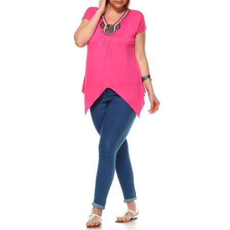 Women's Plus Size Grace Embellished Tunic Top