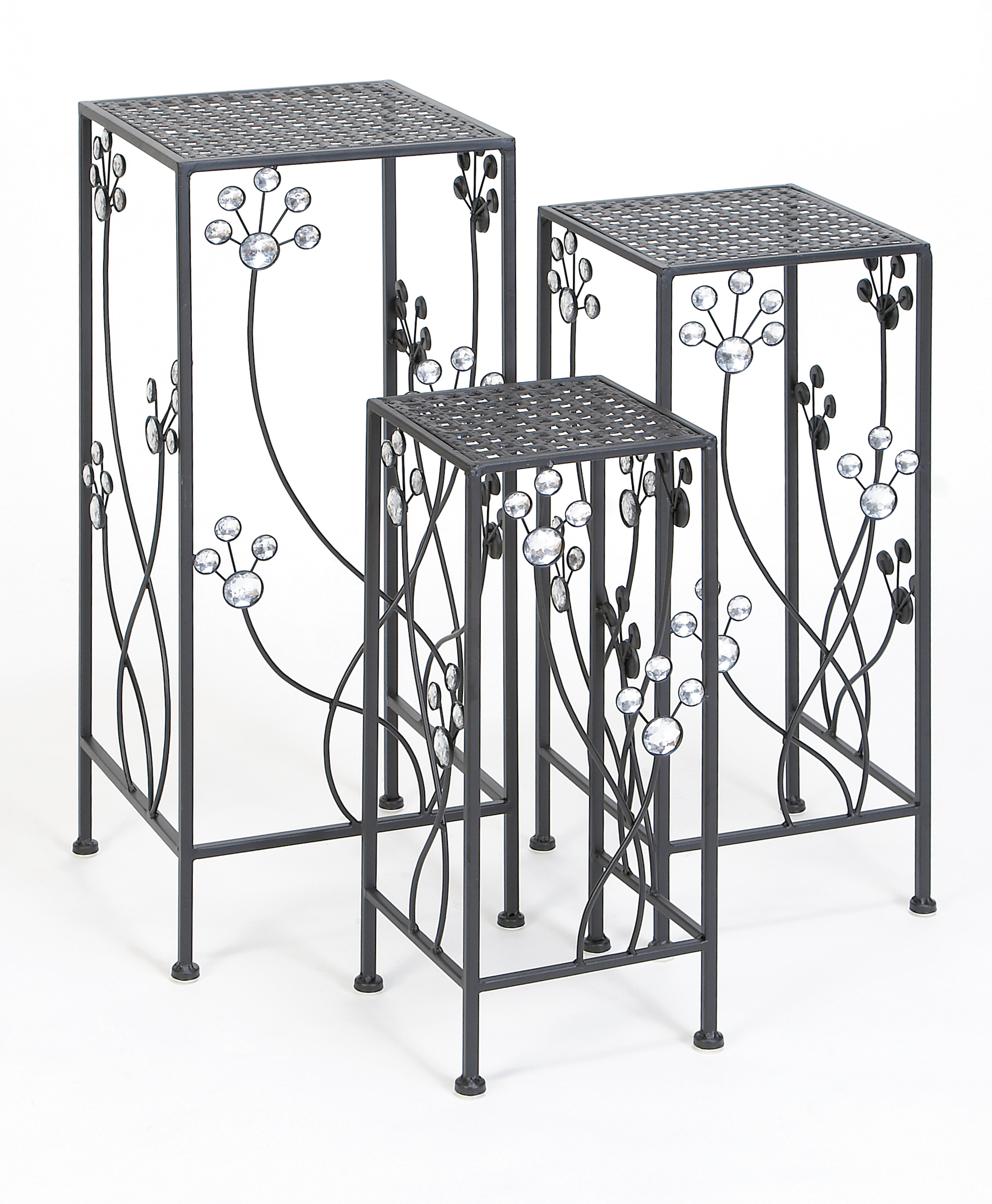 Decmode Modern 28, 24 and 20 Inch Square Metal Plant Stands with Crystal Accents Set of 3 by DecMode