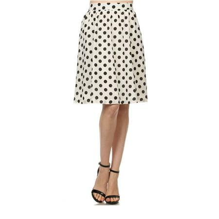 White Polka Dot Flare Spring Skirt - Semi Sheer Lined Vintage Style