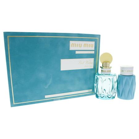 Leau Bleue by Miu Miu for Women - 2 Pc Gift Set 3.4oz EDP Spray, 3.4oz Body Lotion (Miu Miu Runde Sonnenbrille)