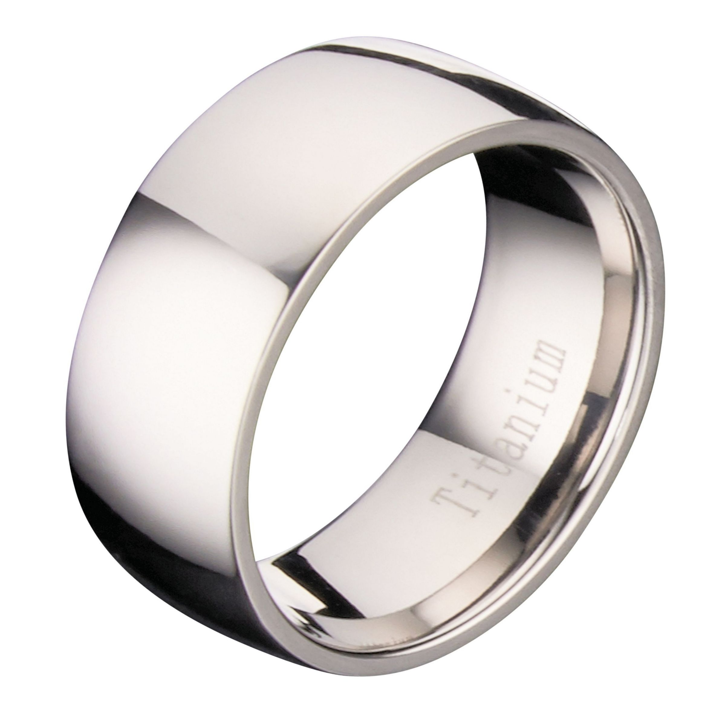 8mm Polished Comfort Fit Titanium Wedding Ring Band