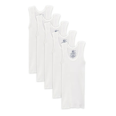 Ribbed Boy Beater Tank - Fruit of the Loom White Tank Undershirts, 5 Pack (Toddler Boys)