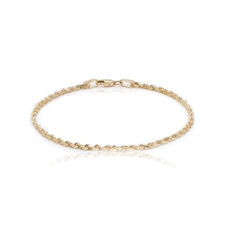 10k Yellow Gold Solid Diamond Cut Rope Chain Bracelet and Anklet for Men & Women, 2.25mm (0.09