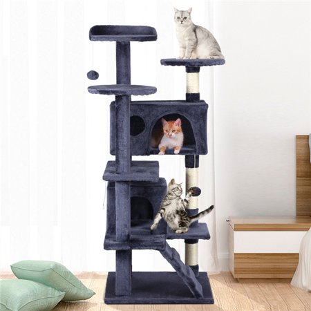 Topeakmart Cat Tree Scratcher Play House Condo Furniture for Kittens - Cozy Fur Condo