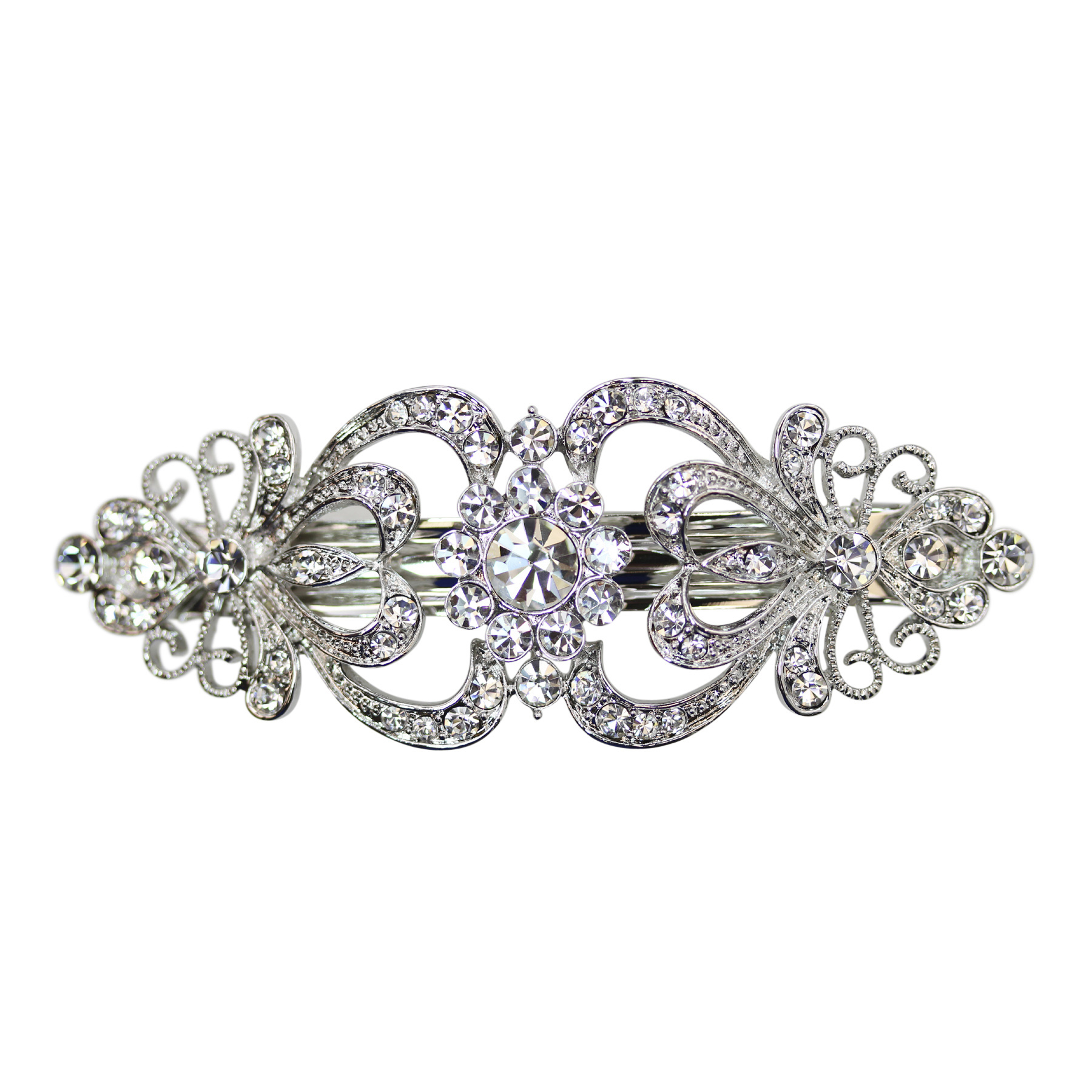 Faship Gorgeous Clear Crystal Hearts And Floral Hair Barrette