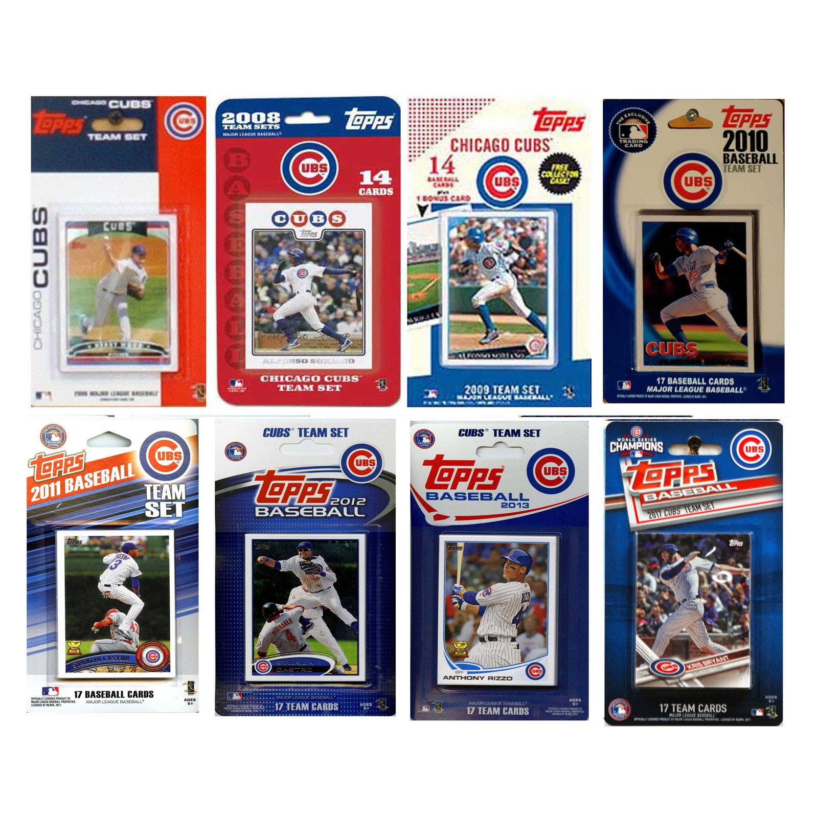 C & I Collectables MLB Chicago Cubs 8 Different Licensed Trading Card Team Sets
