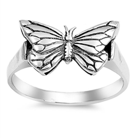 - Antiqued Butterfly Filigree Animal Ring ( Sizes 4 5 6 7 8 9 10 ) New .925 Sterling Silver Band Rings by Sac Silver (Size 4)