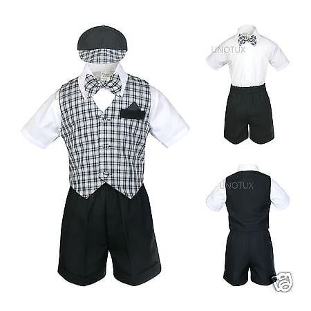INFANT BOY & TODDLER  FORMAL  BLACK CHECKER VEST SHORTS SUIT S M L XL 2T 3T (Checkered Suit)