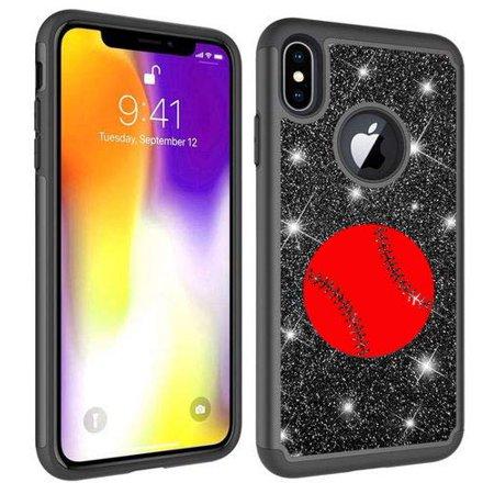 - Glitter Bling Sparkle Shockproof Protective Hard Soft Case Cover for Apple iPhone Baseball Softball (Black, for Apple iPhone 7 / iPhone 8)