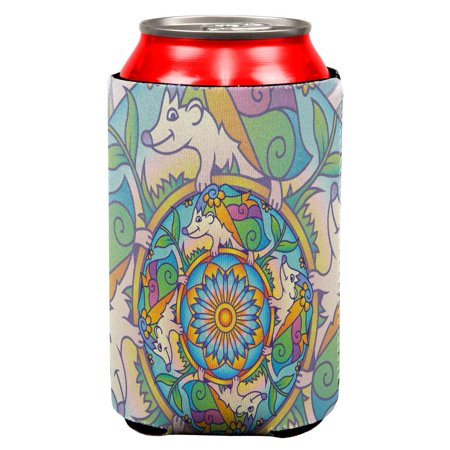 Mandala Trippy Stained Glass Hedgehog All Over Can Cooler