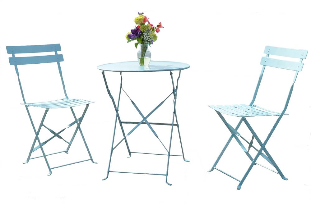 3-Pc Bistro Set in Pool Blue by Carolina Chair and Table Company