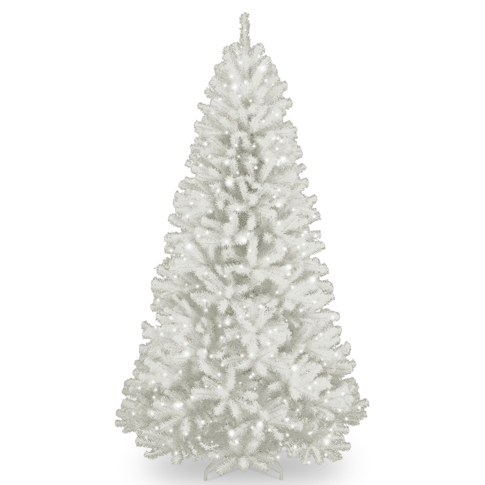 national tree 7ft pre lit north valley spruce hinged artificial christmas tree with glitter and 550 clear lights white walmartcom