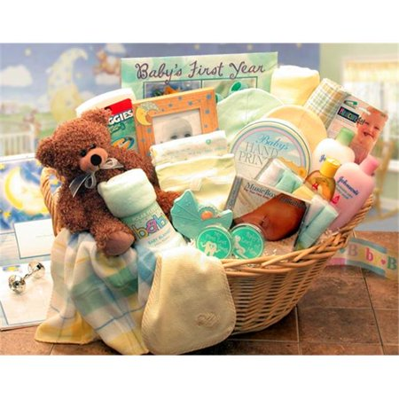 Gift Basket Drop Shipping 890111-Y/T Deluxe Welcome Home Precious Baby Basket -Yellow and Teal