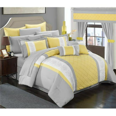 Chic Home CS5280-US Aura Complete Pintuck Embroidery Color Block Bedding, Sheets, Window Panel Collection Bed in a Bag Comforter Set Sheets - Yellow - Queen - 24 Piece ()