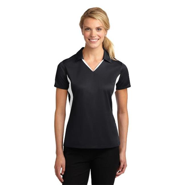Sport-Tek® Ladies Side Blocked Micropique Sport-Wick® Polo. Lst655 Black/White S - image 1 of 1
