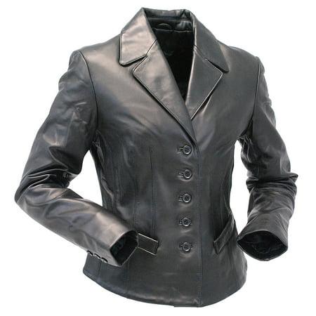 5 Button New Zealand Lambskin Tailored Leather Blazer (Leather Bracers)