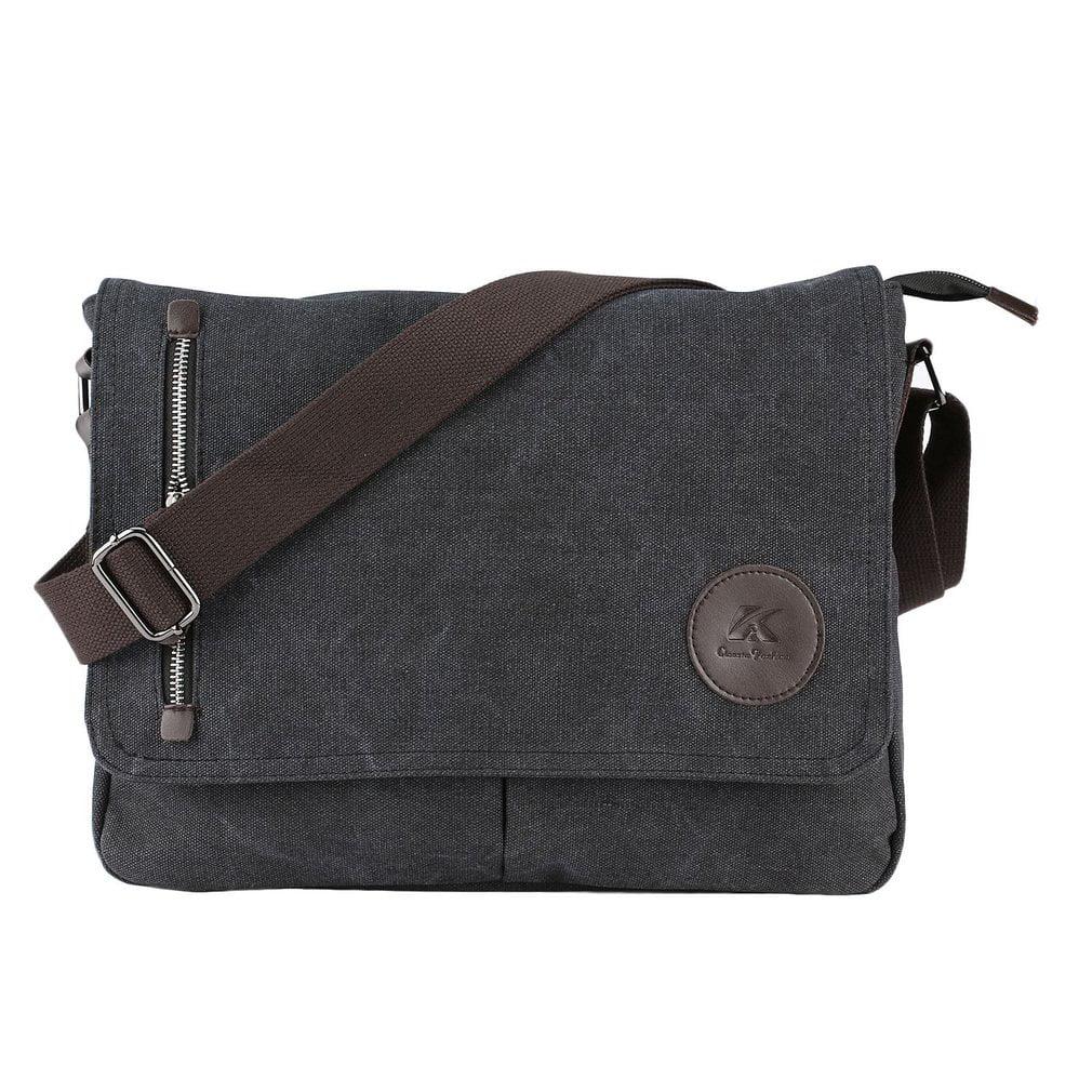 4c0efd55d16 Men Vintage Canvas Schoolbag Shoulder Messenger Bag Laptop Tablet Bags Man  Shoulder Bag Casual Travel Business Bag - Walmart.com