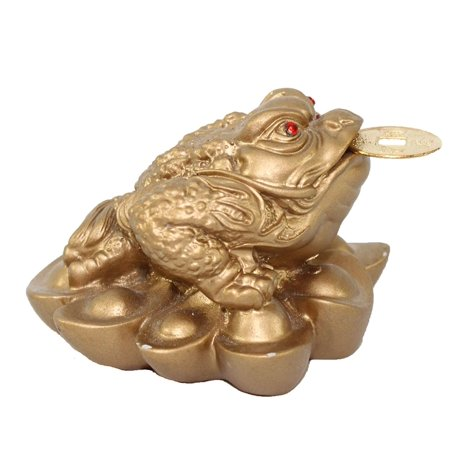 Fortune Coin Matte Gold Three Legged Money Toad/ Frog /Chan Chu Feng Shui Prosperity Decoration Gift (Idea for Office Desk, Shelf, and Cashier Area Display) New
