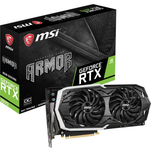 MSI ARMOR GeForce RTX 2070 ARMOR 8G OC GeForce RTX 2070 Graphic Card - 1 41  GHz Core - 1 74 GHz Boost Clock - 8 GB GDDR6 - plus free Wolfenstein: