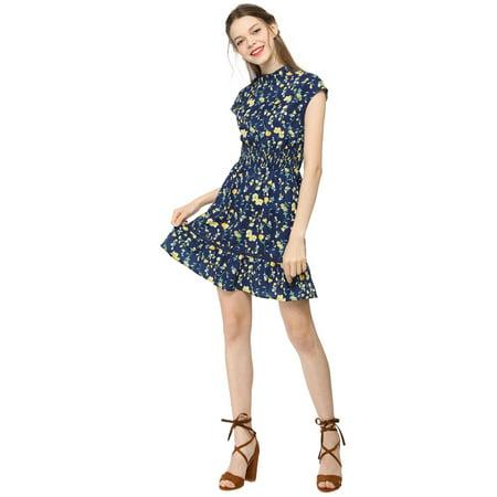 f6b48f81c9fc Women鈥榮 Floral Cap Sleeve Smock Waist Mini Dress M - image 1 of 6 ...